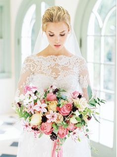 Absolutely beautiful bride with a spring bouquet Wedding Bells, Wedding Bride, Floral Wedding, Dream Wedding, Wedding Day, Purple Wedding, Lace Wedding, Brides And Bridesmaids, Bridesmaid Bouquet