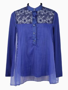 So Pretty! Sapphire Blue Floral Embroidery Mesh Panel Shirt