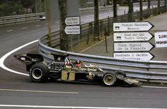 Emerson Fittipaldi (Lotus-Ford) vainqueur du Grand Prix d'Espagne - circuit de Montjuic 1973