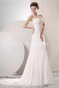 Romantic Double Straps A-line Full Length Summer Beach Wedding Dresses