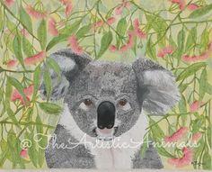 Canvas print of original painting Animal painting Koala
