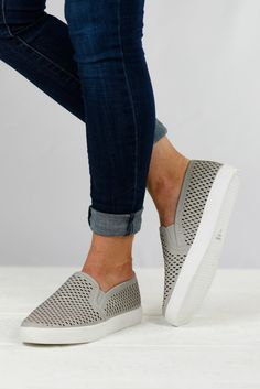 This super cute and fun laser cut out slip-on is perfect for running errands! Easy to put on and comfortable for on the go! Add these to your spring fashion to lighten things up a bit!