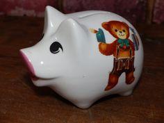 VINTAGE PIGGY REUTTER Porzellan German Piggy Bank - Bears in Lederhosen by JusFunkinAround on Etsy