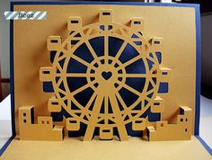 Ferris Wheel Kirigami Pop Up Card Kirigami Templates, Origami And Kirigami, Origami Paper Art, Diy Paper, Paper Crafts, Handmade Gifts For Boyfriend, Origami Architecture, Pop Up Art, Paper Pop