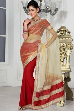 Papaya-whip Yellow and Venetian Red Net and Chiffon Festival Saree,Sku Code:99-3944SA843171