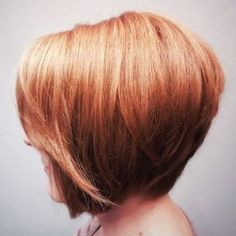 red inverted chin-length bob