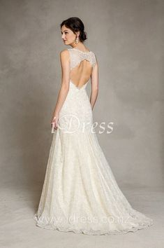 Sophisticated, lace gown perfect for today& modern day bride! Sleeveless bodice with illusion V-neck and intricate lace overlay. Trumpet skirt with scalloped hemline, sweep train. Open keyhole back with buttons. Wedding Dresses Nz, Wedding Dress Shopping, Bridal Dresses, Bridesmaid Dresses, Lace Wedding, Dream Wedding, Wedding Bells, Keyhole Back Wedding Dress, Keyhole Dress