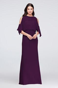Plum Purple Cold-Shoulder Blouson Chiffon Bridesmaid Dress by David's Bridal