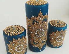 Unscented wax pillar decorated with henna mandala/jewel tone/henna candle/indian. Unscented wax pillar decorated with henna mandala/jewel tone/henna candle/indian wedding/unique/gift for mom/eid decor/w. Henna Candles, Diy Candles, Pillar Candles, Scented Candles, Juwel Tattoo, Gold Henna, Mehndi Decor, Mehendi, Pottery Painting Designs