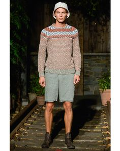 """Billy Reid """"The outside garden set the tone for the show—one of my favorite looks was the printed knit sweater and simple bucket hat."""" —Kell..."""