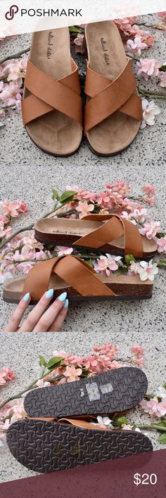 🌸 🆕 Brown Slide Sandals NWOT! 💘 I accidentally ordered these in a size too big but they are SO cute!! Super on trend and they have a similar style as Birkenstocks. I love that they just slide on and off and still look super stylish! Made really durable and are surprisingly very comfortable! ☺️ Can also fit 9.5 Altar'd State Shoes Sandals