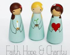 Faith Hope and Charity Handpainted Peg Dolls by tomiannie on Etsy. , via Etsy. Wood Peg Dolls, Clothespin Dolls, Creation Art, Creation Deco, Doll Crafts, Diy Doll, Craft Stick Crafts, Crafts For Kids, Pretty Pegs