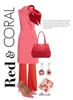"""""""Red and coral"""" by quicherz on Polyvore featuring Elie Saab, Gina Bacconi, Chantecler, MKF Collection, Hermès and Coach"""