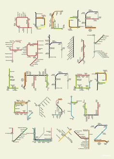 Typography inspired by the Tube map by artist/designer Tim Fishlock