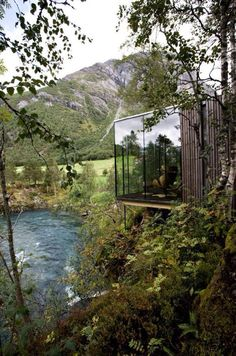 Juvet Landscape Hotel by JSA Architects - Burtigard, Gudbrandsjuvet, Norway. Each room is a detached small 'house' with one or two of the walls constructed in glass, granting each room its own view of a dramatic slice of landscape. Beautiful Homes, Beautiful Places, Trees Beautiful, Beautiful Soup, Amazing Places, Architecture Cool, Installation Architecture, Garden Architecture, Cabin In The Woods