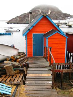 tiny orange cottage in Ramea, Newfoundland; photo by Carrie McKellar #PANDORAsummercontest