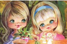 Vintage Postcard of a Two Big Eyed Girls, Spanish Christmas Card | Flickr - Photo Sharing!