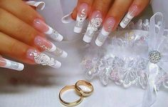Bride nails with rose