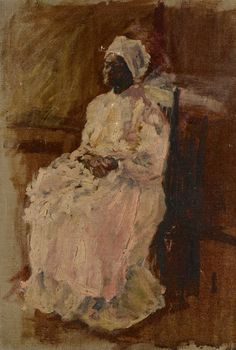 Southern School, late – early century, impressionist style portrait of an African American woman wearing a turban and sitting in a chair, her hands folded holding a blanket or possibly a child Old Southern Plantations, Cotton Plantations, African American Artist, American Artists, Blue Bayou, Beautiful Voice, Black Art, Impressionism, Sculpture Art