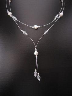 Karina Necklace  Bridal Swarovski Crystal Pearl Y by EuropeanBride, $44.00