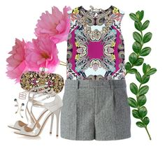 """""""She made her own garden"""" by gabyidc ❤ liked on Polyvore featuring Marchesa, Etro, Jimmy Choo, RED Valentino, Topshop, Assad Mounser and Gorjana"""