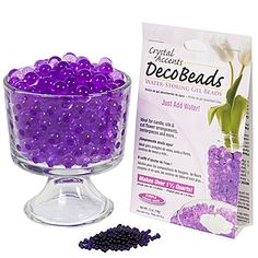 Our Purple Deco Beads are non-toxic polyacrylamide gel beads that grow into gel-like marbles and hold over 100 times their weight in water. Add white LED puck light