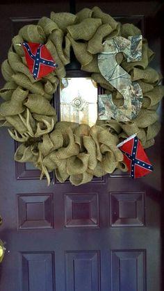 Burlap wreath. South. Deer horns. Cross. Monogrammed. Rebel flags.