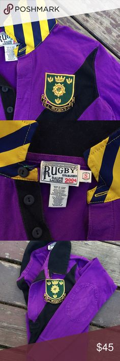 "Rugby inspired polo by Ralph Lauren Cotton long sleeve, blue and gold stripped outside collar, black inside collar, badge patch on left chest, number ""2"" patch on right arm, and elbow patches. Rugby Ralph Lauren Tops Tees - Long Sleeve"