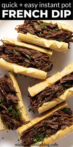 These Instant Pot French Dip sandwiches are loaded with tender, juicy, shredded beef that cooks in just about 90 minutes from start to finish!