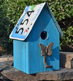 Rustic Birdhouse - Butterfly Birdhouse - Recycled License Plate Birdhouse. $28.00, via Etsy.