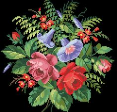 This Pin was discovered by Zuh Embroidery Patterns Free, Cross Stitch Patterns, Knitting Patterns, Cushion Cover Pattern, Seasonal Flowers, Cross Stitch Flowers, Knitted Bags, Flower Vases, Cross Stitching