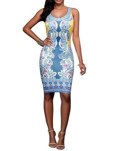 Blue Yellow African Print Sleeveless Party Club Tight Midi Dress