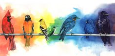 How clever is this? The #color of the bird bleeds out onto the background. Nice.#art