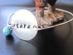 Brass Pendant Hand Stamped Name Bracelet, Oxidized Sterling Silver Bangle