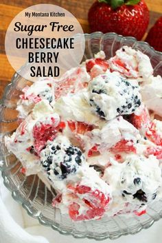 Low Carb Recipes Cheesecake Berry Salad is one of the most delicious low carb salads you can make. Filled with fresh berries and cream cheese, this stellar low carb carb dish can double as a salad or as a sugar free dessert! Sugar Free Deserts, Low Sugar Desserts, Low Carb Sweets, Sugar Free Recipes, Low Carb Recipes, Dessert Recipes, Diabetic Desserts Sugar Free Low Carb, Diabetic Recipes, Low Sugar Foods