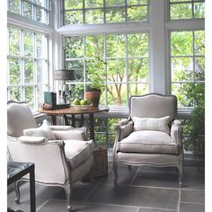 """""""I converted my client's seldom used screened porch into a 4 season garden room with insulated windows and slate floor (over old concrete). Radiant floor…"""""""