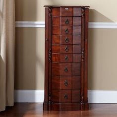 Walnut 8-Drawer Jewelry Armoire $300 original $195 clearance