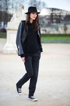 Le Fashion Blog Ways To Wear Black Converse Sneakers Fedora Leather Jacket Ribbed Sweater Pleated Pants Model Style Katie Nescher Via Harpers Bazaar