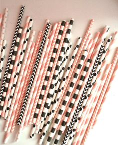 25 Pink and Black Paper Straws, French theme, Chevron, Polkadtos, Stripes, Drinking Straws, Cake Pops