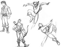 hellyeahtangled: Flynn in the early concept art designs use to have longer hair, which kinda reminds me of Gaston in a way? Sketches by Glen Keane