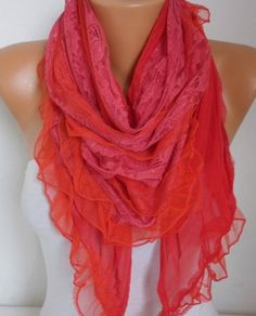 Red Lace Scarf Shawl Summer Scarf Bridal Accessories by fatwoman