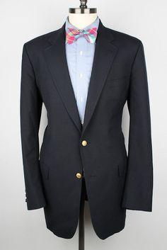 TIMELESS Brooks Brothers Navy w/ Gold Gates Btns 42 L mens Sport Coat Blazer #BrooksBrothers #TwoButton