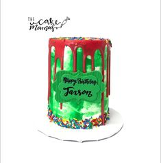 Green and Red Drip cake! Call or email to order your custom drip cake today! Cakes Today, Cupcake Wars, Drip Cakes, Celebration Cakes, Custom Cakes, Food Network Recipes, Sprinkles, Birthday Cake, Cupcakes