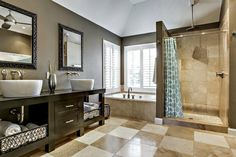 Contemporary Master Bathroom with Master bathroom, Vessel sink, High ceiling, Wood counters, Double sink, Flush, flush light