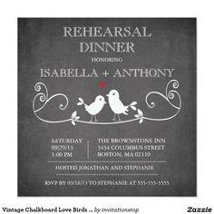 Vintage Chalkboard Love Birds Rehearsal Dinner