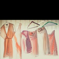 Mismatched pink/peach bridesmaid dresses