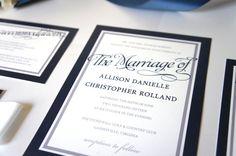 Navy Blue Wedding Invitation  by KraftWeddingPapers #navybluewedding #navyweddinginvitations