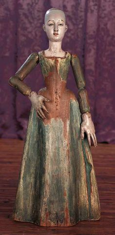 Fine Early Solid Carved Wooden Doll,ex-Legoland Museum Collection. http://Theriaults.com