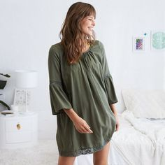 Aerie Scoop Back Peasant Dress ($27) ❤ liked on Polyvore featuring dresses, green, strap dress, scoop neckline dress, gauze dresses, gauze peasant dress and peasant dress
