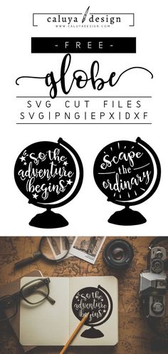FREE globe with quote SVG cut file, Printable vector clip art download. Free printable clip art, adventure quote. Compatible with Cameo Silhouette, Cricut explore and other major cutting machines. 100% for personal use, only $3 for commercial use. Perfect for DIY craft project with Cricut & Cameo Silhouette, card making, scrapbooking, making planner stickers, making vinyl decals, decorating t-shirts with HTV and more! globe SVG cut files, adventure SVG cut files, inspirational SVG cut files